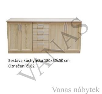 Kuchyňská sestava z masivu borovice š. 180 cm (spodní část)
